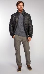 Мужская демисезонная кожаная куртка AFG на синтепоне